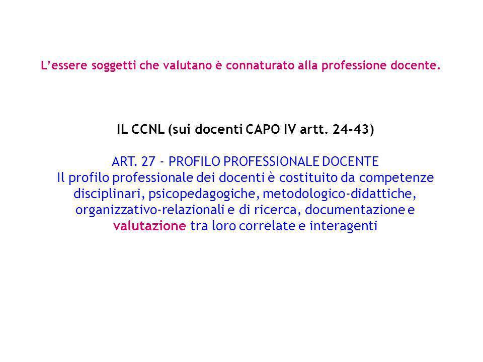 IL CCNL (sui docenti CAPO IV artt. 24-43) ART. 27 - PROFILO PROFESSIONALE DOCENTE Il profilo professionale dei docenti è costituito da competenze disc