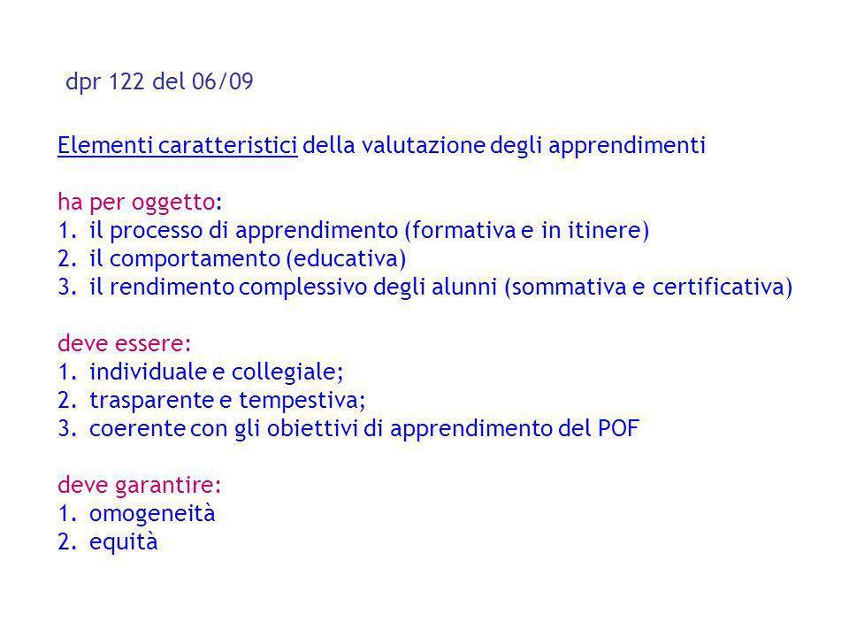 dpr 122 del 06/09 Elementi caratteristici della valutazione degli apprendimenti ha per oggetto: 1.il processo di apprendimento (formativa e in itinere
