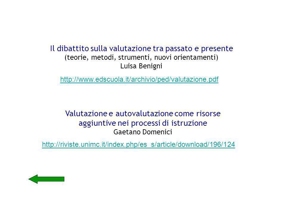 http://www.edscuola.it/archivio/ped/valutazione.pdf Il dibattito sulla valutazione tra passato e presente (teorie, metodi, strumenti, nuovi orientamen