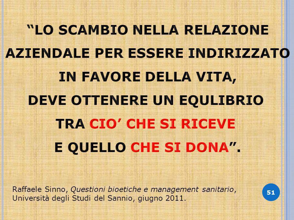 51 Raffaele Sinno, Questioni bioetiche e management sanitario, Università degli Studi del Sannio, giugno 2011.