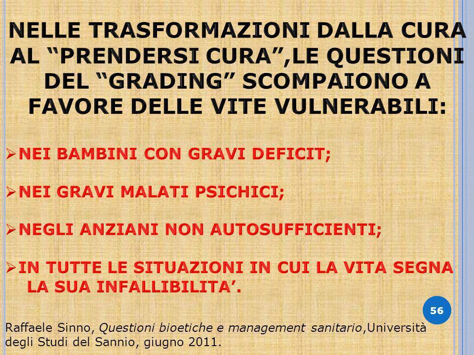 56 Raffaele Sinno, Questioni bioetiche e management sanitario,Università degli Studi del Sannio, giugno 2011.