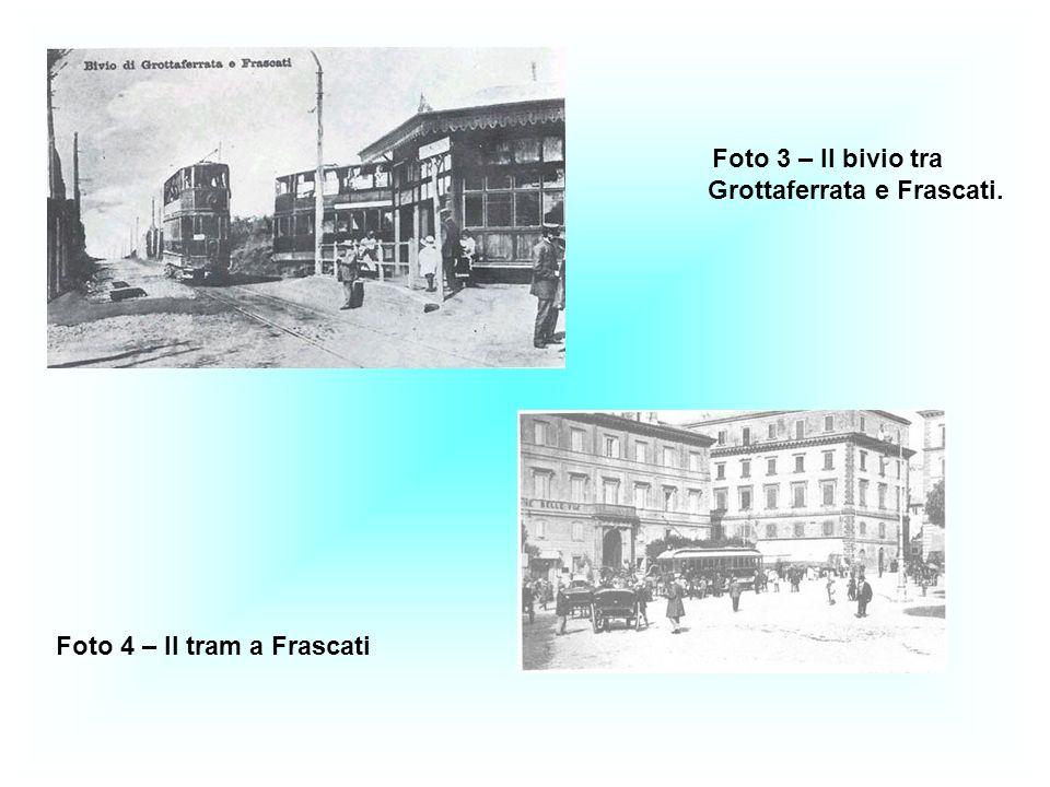 Foto 3 – Il bivio tra Grottaferrata e Frascati. Foto 4 – Il tram a Frascati