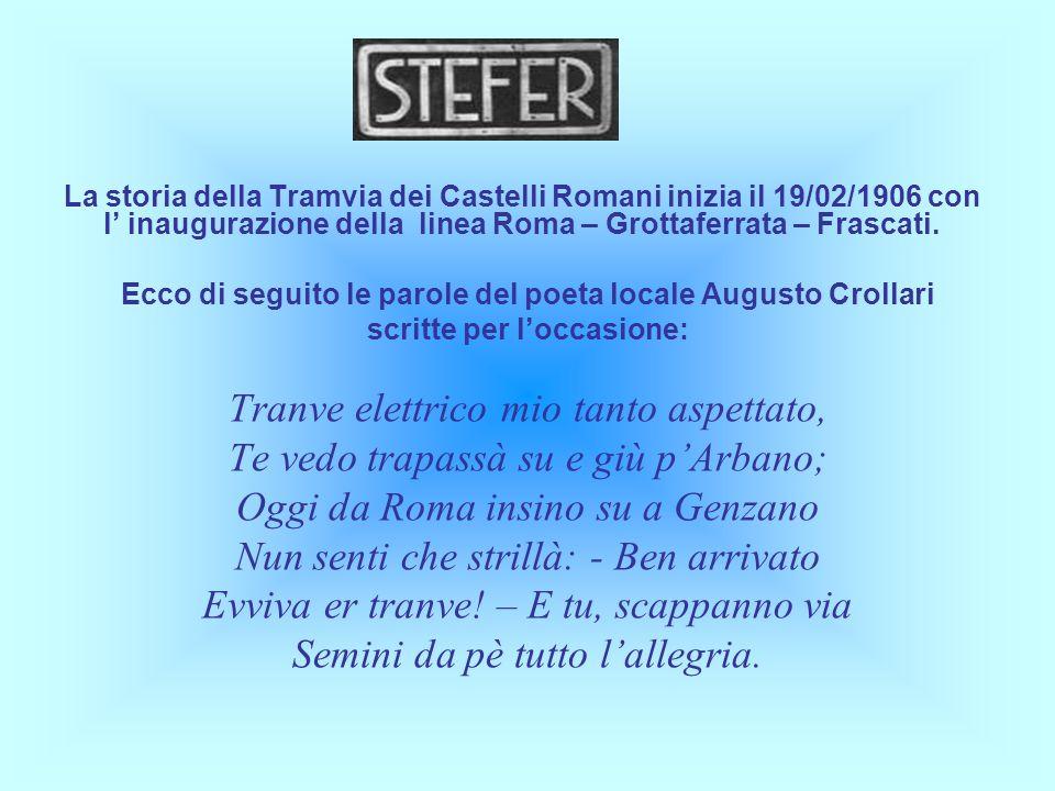 La storia della Tramvia dei Castelli Romani inizia il 19/02/1906 con l inaugurazione della linea Roma – Grottaferrata – Frascati. Ecco di seguito le p