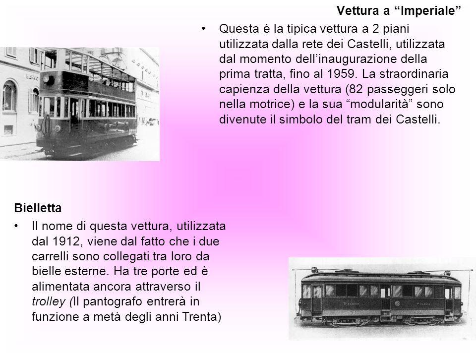 Vettura a Imperiale Questa è la tipica vettura a 2 piani utilizzata dalla rete dei Castelli, utilizzata dal momento dellinaugurazione della prima trat