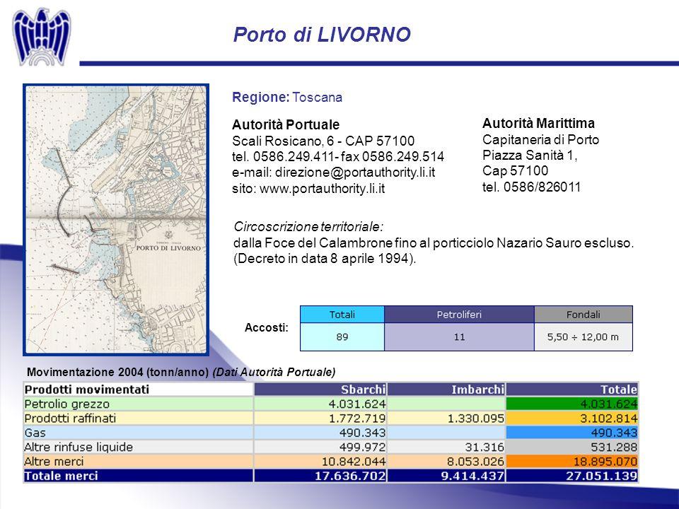 Porto di LIVORNO Movimentazione 2004 (tonn/anno) (Dati Autorità Portuale) Regione: Toscana Autorità Portuale Scali Rosicano, 6 - CAP 57100 tel.