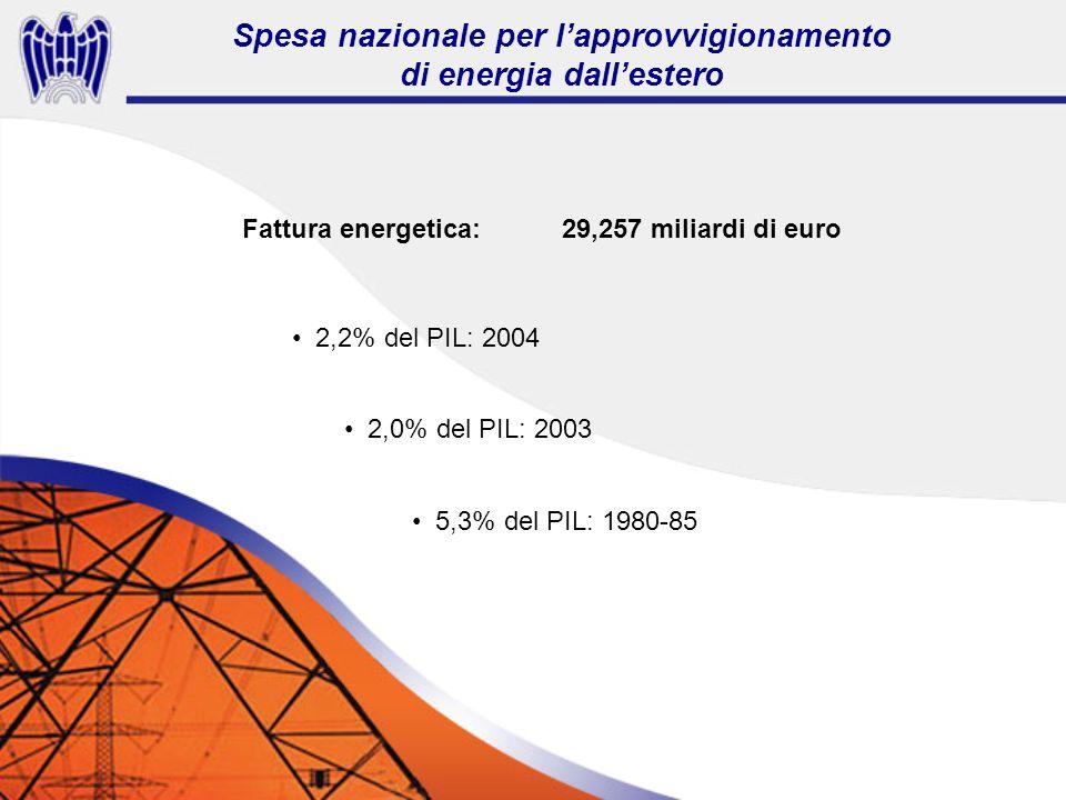 Fattura energetica:29,257 miliardi di euro 2,2% del PIL: 2004 2,0% del PIL: 2003 5,3% del PIL: 1980-85 Spesa nazionale per lapprovvigionamento di energia dallestero