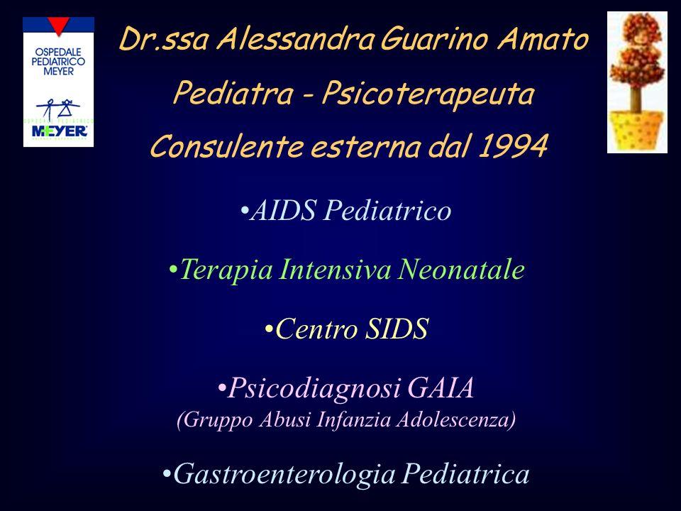 Consulente esterna dal 1994 Dr.ssa Alessandra Guarino Amato Pediatra - Psicoterapeuta AIDS Pediatrico Terapia Intensiva Neonatale Centro SIDS Psicodia