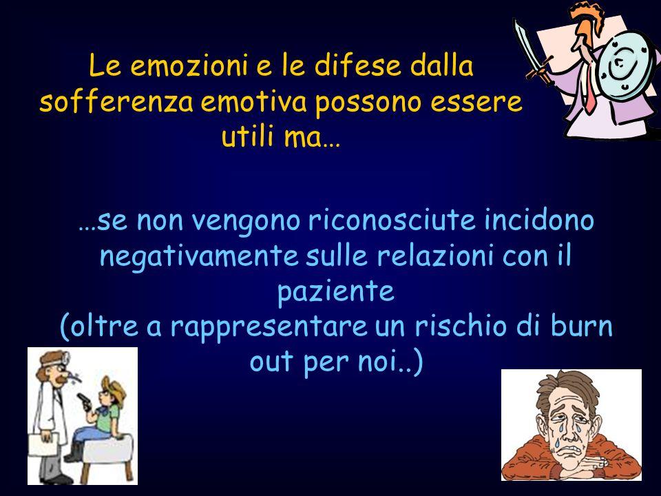 …se non vengono riconosciute incidono negativamente sulle relazioni con il paziente (oltre a rappresentare un rischio di burn out per noi..) Le emozio