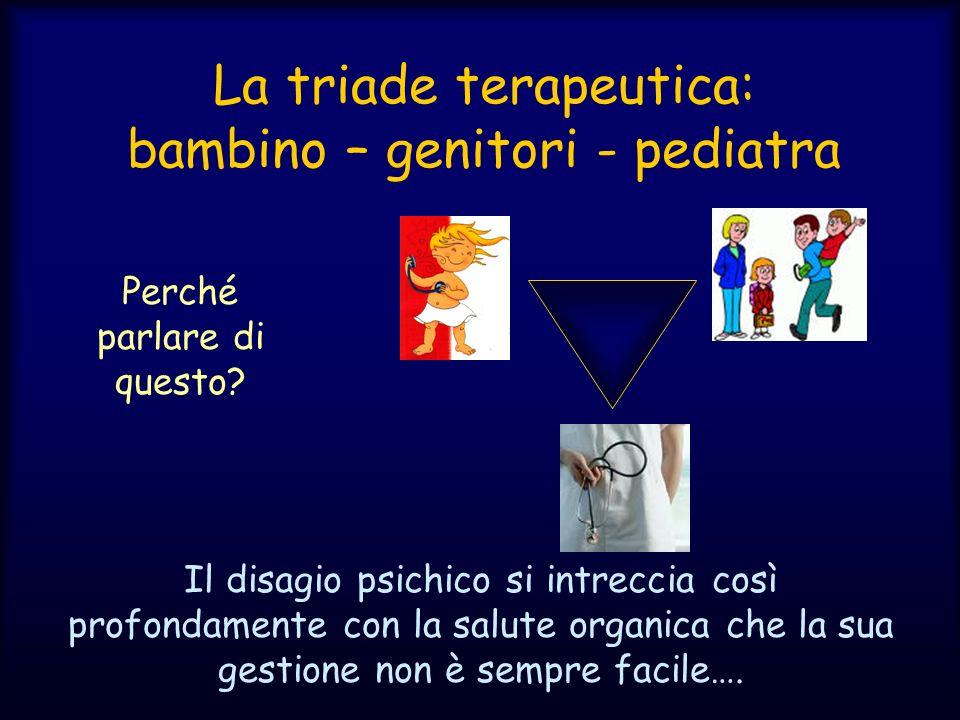 La triade terapeutica: bambino – genitori - pediatra Perché parlare di questo? Il disagio psichico si intreccia così profondamente con la salute organ