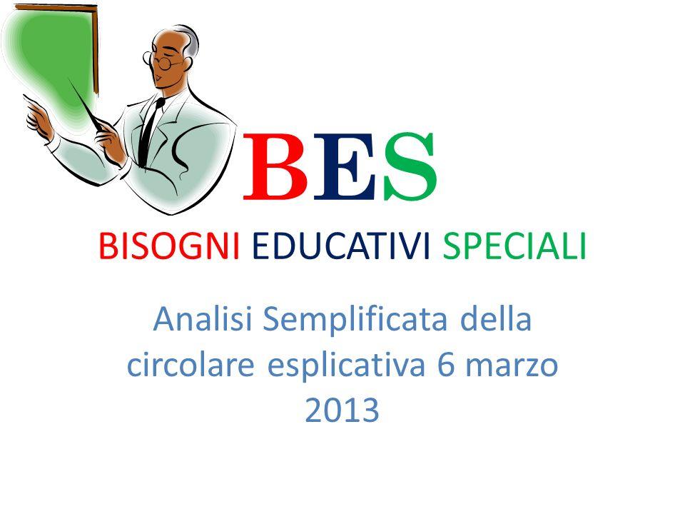 BES BISOGNI EDUCATIVI SPECIALI Analisi Semplificata della circolare esplicativa 6 marzo 2013