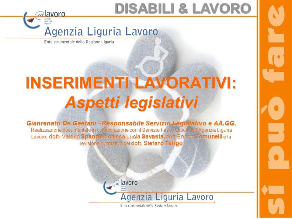 INSERIMENTI LAVORATIVI: Aspetti legislativi Gianrenato De Gaetani –Responsabile Servizio Legislativo e AA.GG. Realizzazione documentale in collaborazi