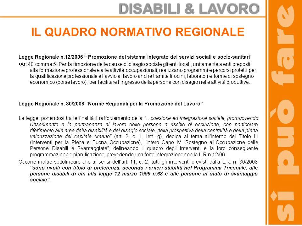 IL QUADRO NORMATIVO REGIONALE Legge Regionale n.12/2006 Promozione del sistema integrato dei servizi sociali e socio-sanitari Art.40 comma 5: Per la r