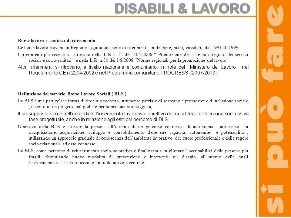 Borse lavoro : contesti di riferimento Le borse lavoro trovano in Regione Liguria una serie di riferimenti in delibere, piani, circolari, dal 1991 al