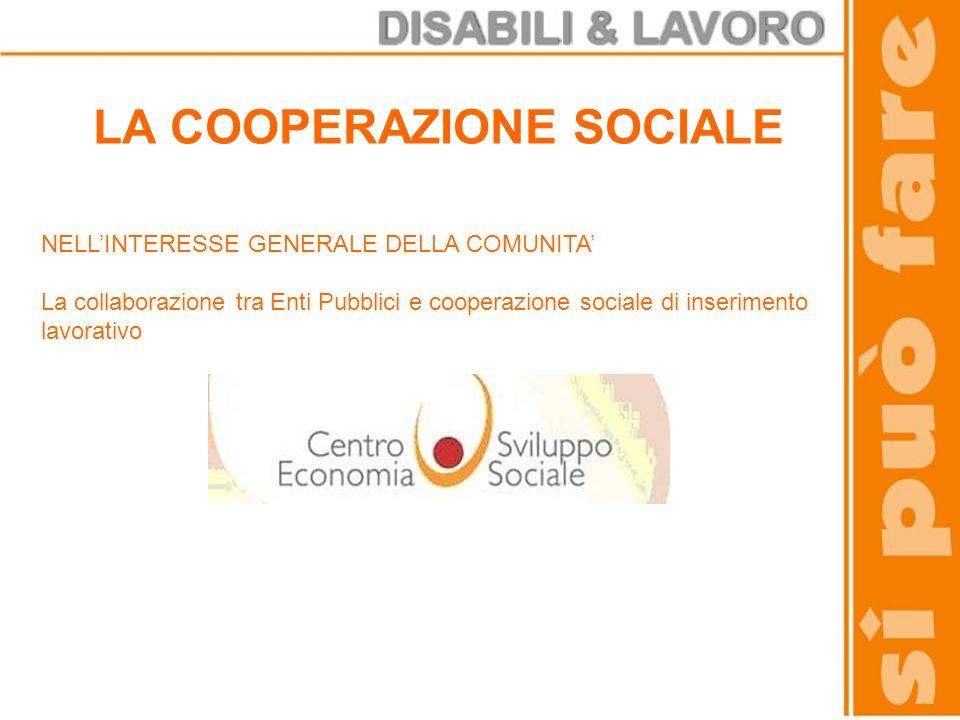 LA COOPERAZIONE SOCIALE NELLINTERESSE GENERALE DELLA COMUNITA La collaborazione tra Enti Pubblici e cooperazione sociale di inserimento lavorativo