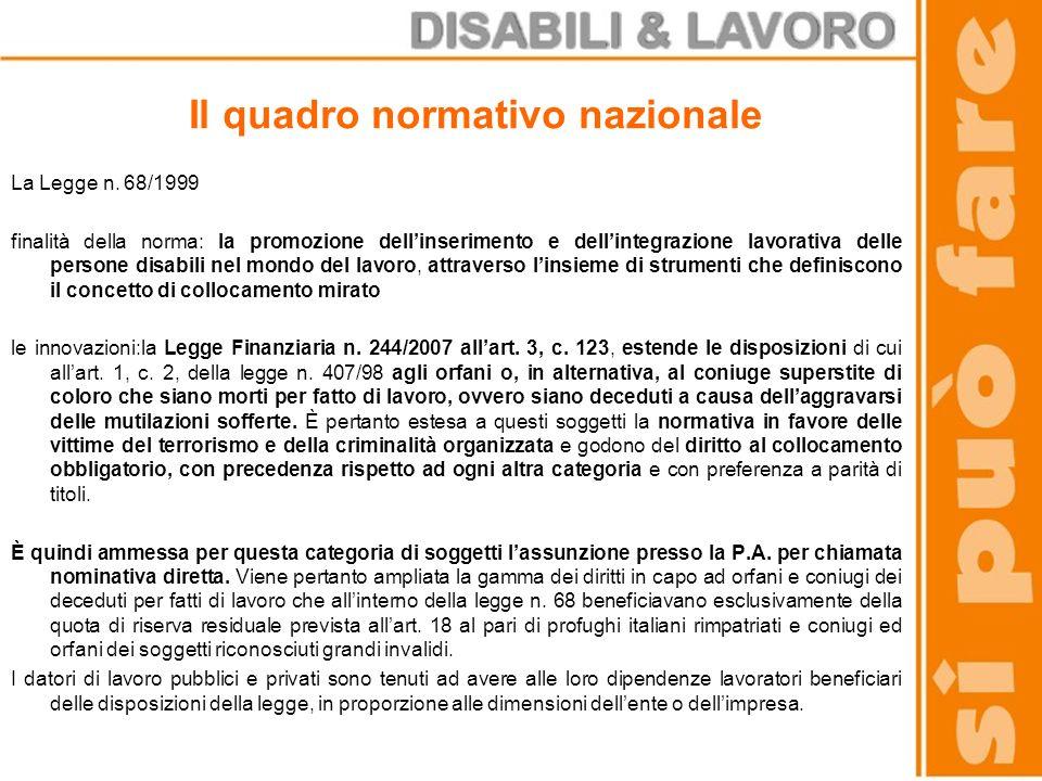 Il quadro normativo nazionale La Legge n. 68/1999 finalità della norma: la promozione dellinserimento e dellintegrazione lavorativa delle persone disa