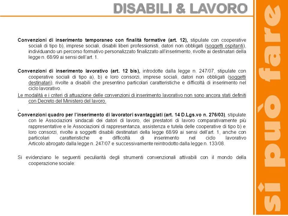 Convenzioni di inserimento temporaneo con finalità formative (art. 12), stipulate con cooperative sociali di tipo b), imprese sociali, disabili liberi