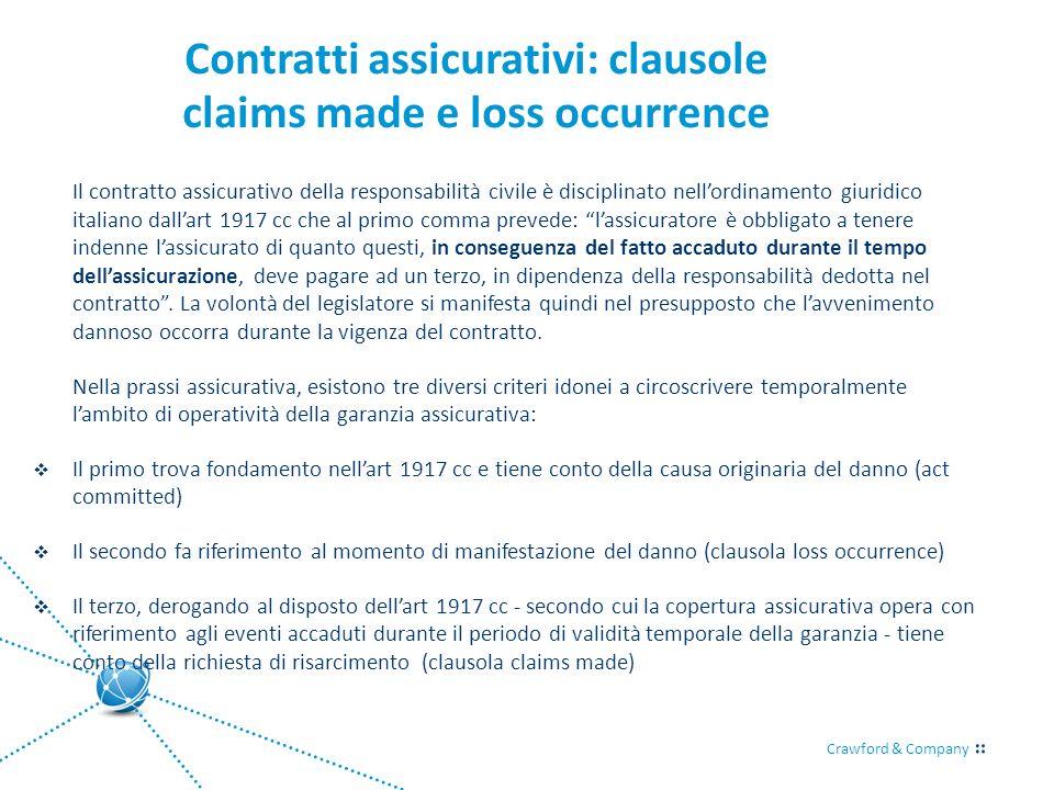 Crawford & Company Contratti assicurativi: clausole claims made e loss occurrence Il contratto assicurativo della responsabilità civile è disciplinato