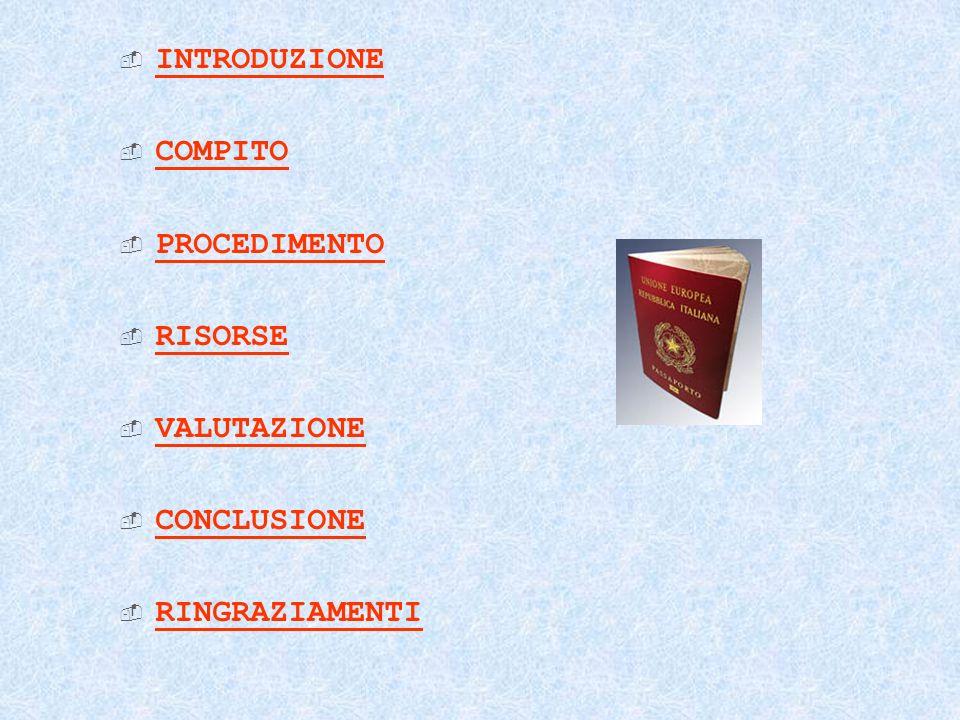 INTRODUZIONE COMPITO PROCEDIMENTO RISORSE VALUTAZIONE CONCLUSIONE RINGRAZIAMENTI