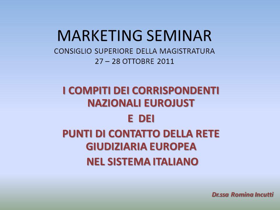 MARKETING SEMINAR CONSIGLIO SUPERIORE DELLA MAGISTRATURA 27 – 28 OTTOBRE 2011 I COMPITI DEI CORRISPONDENTI NAZIONALI EUROJUST E DEI PUNTI DI CONTATTO DELLA RETE GIUDIZIARIA EUROPEA NEL SISTEMA ITALIANO NEL SISTEMA ITALIANO Dr.ssa Romina Incutti
