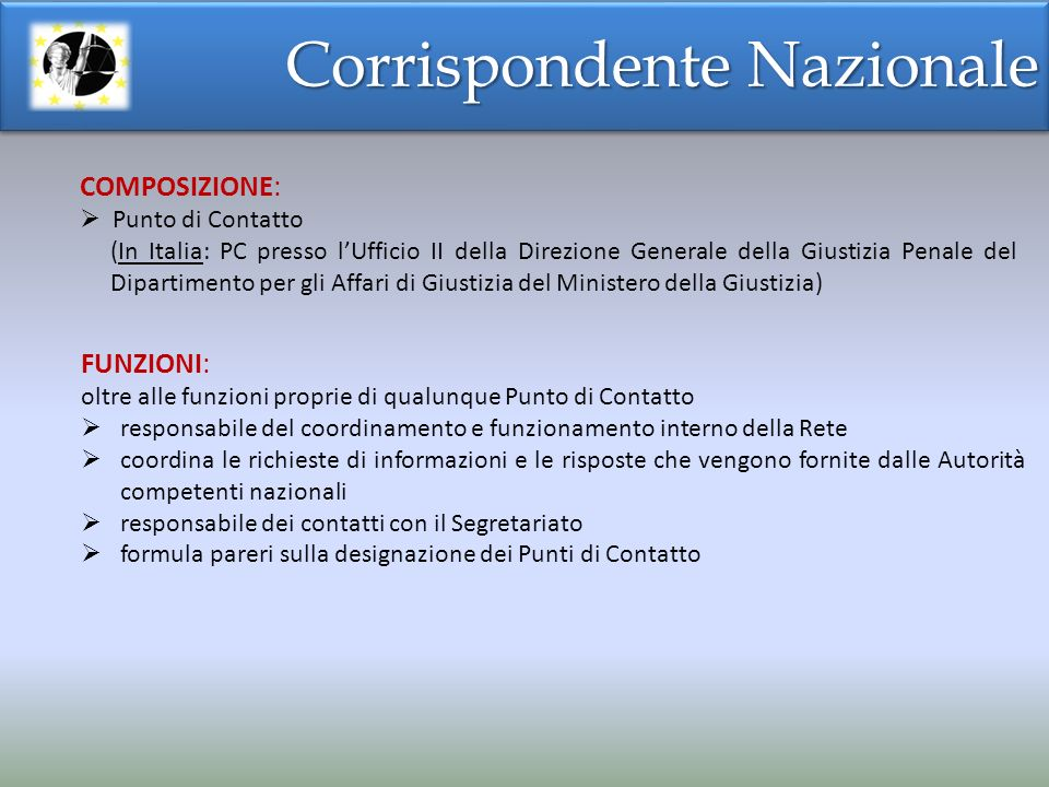 Corrispondente Nazionale FUNZIONI: oltre alle funzioni proprie di qualunque Punto di Contatto responsabile del coordinamento e funzionamento interno d