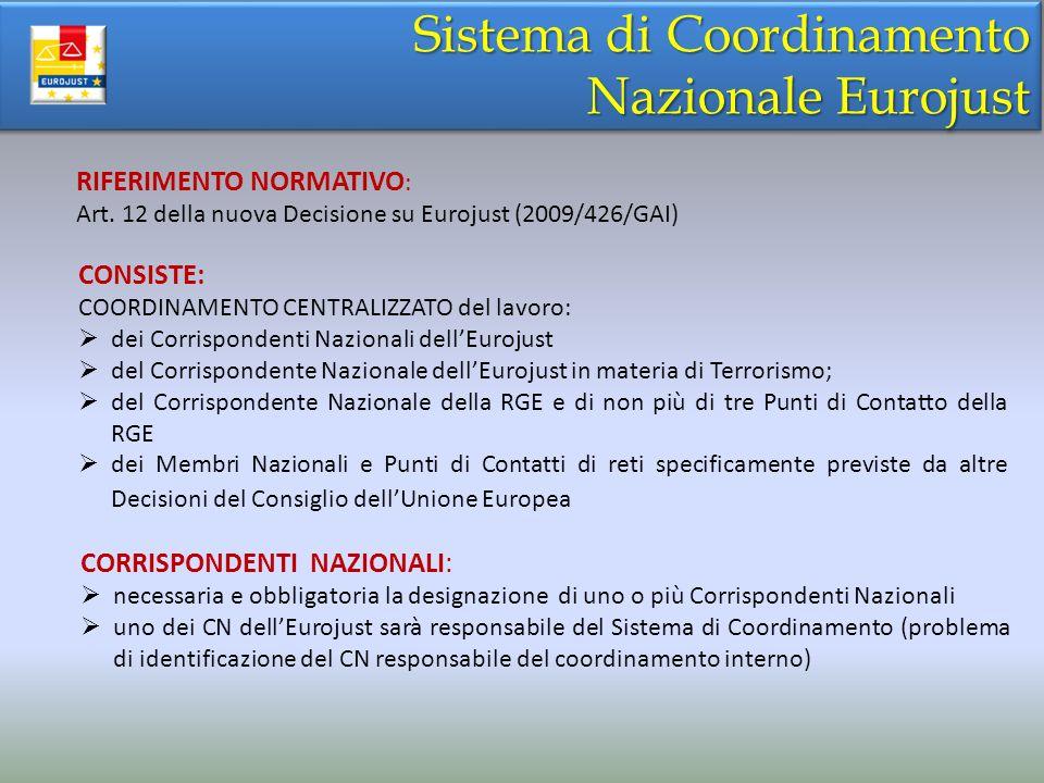Sistema di Coordinamento Nazionale Eurojust Sistema di Coordinamento Nazionale Eurojust RIFERIMENTO NORMATIVO : Art. 12 della nuova Decisione su Euroj