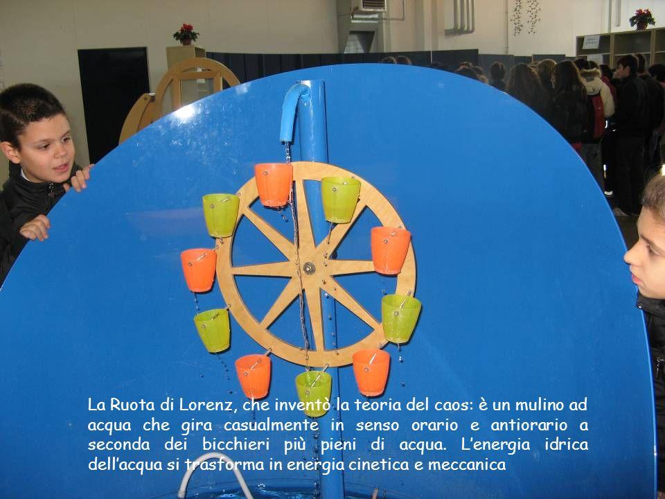 La Ruota di Lorenz, che inventò la teoria del caos: è un mulino ad acqua che gira casualmente in senso orario e antiorario a seconda dei bicchieri più