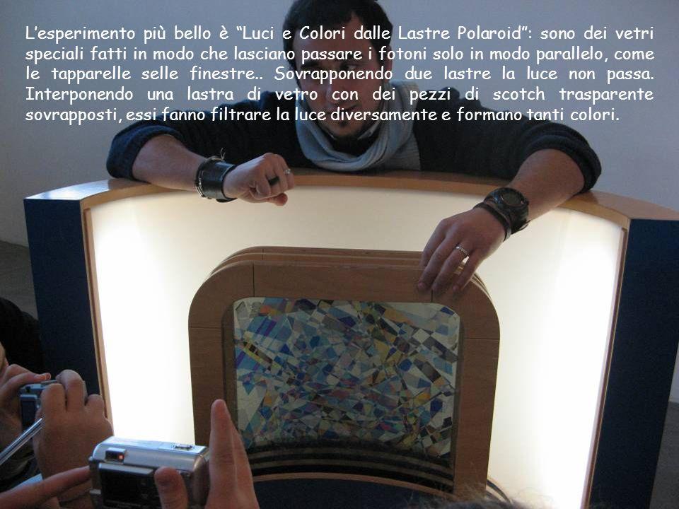 Lesperimento più bello è Luci e Colori dalle Lastre Polaroid: sono dei vetri speciali fatti in modo che lasciano passare i fotoni solo in modo paralle