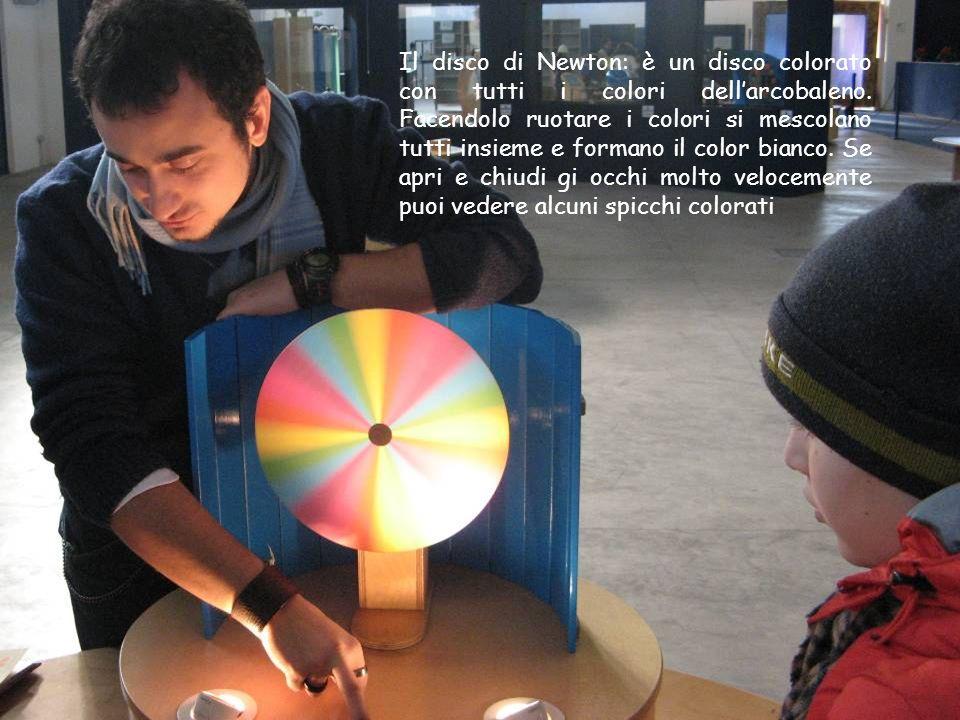 Il disco di Newton: è un disco colorato con tutti i colori dellarcobaleno. Facendolo ruotare i colori si mescolano tutti insieme e formano il color bi