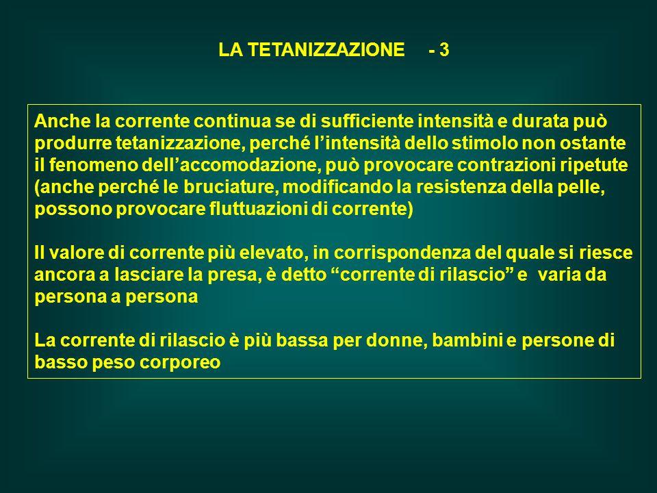 LA TETANIZZAZIONE - 3 Anche la corrente continua se di sufficiente intensità e durata può produrre tetanizzazione, perché lintensità dello stimolo non