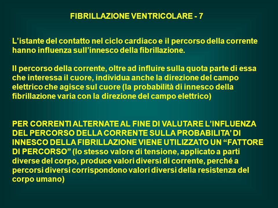 FIBRILLAZIONE VENTRICOLARE - 7 Il percorso della corrente, oltre ad influire sulla quota parte di essa che interessa il cuore, individua anche la dire