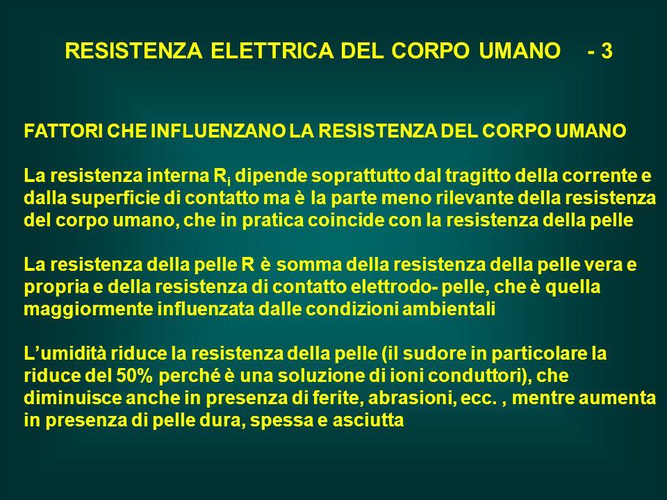 RESISTENZA ELETTRICA DEL CORPO UMANO - 3 FATTORI CHE INFLUENZANO LA RESISTENZA DEL CORPO UMANO La resistenza interna R i dipende soprattutto dal tragi