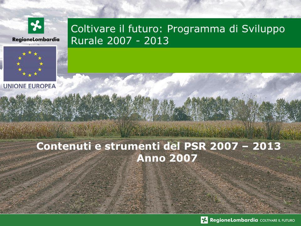 Coltivare il futuro: Programma di Sviluppo Rurale 2007 - 2013 Contenuti e strumenti del PSR 2007 – 2013 Anno 2007