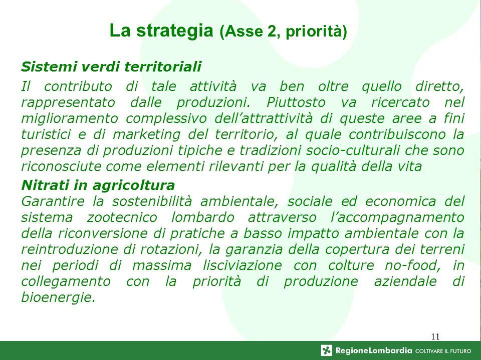 11 La strategia (Asse 2, priorità) Sistemi verdi territoriali Il contributo di tale attività va ben oltre quello diretto, rappresentato dalle produzio