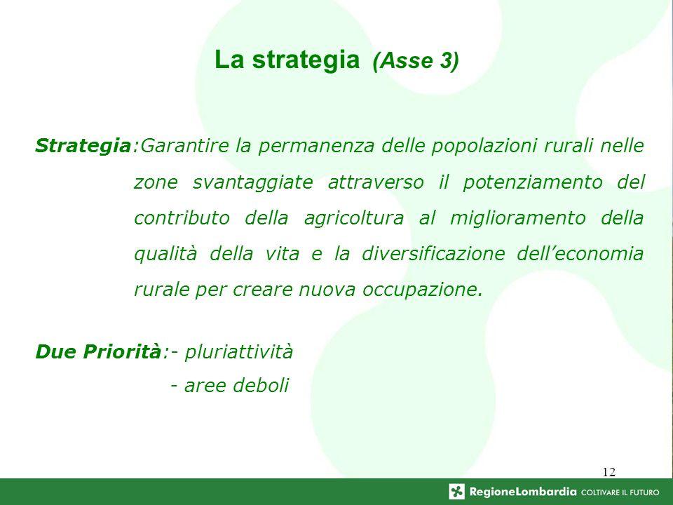 12 Due Priorità:- pluriattività - aree deboli La strategia (Asse 3) Strategia:Garantire la permanenza delle popolazioni rurali nelle zone svantaggiate