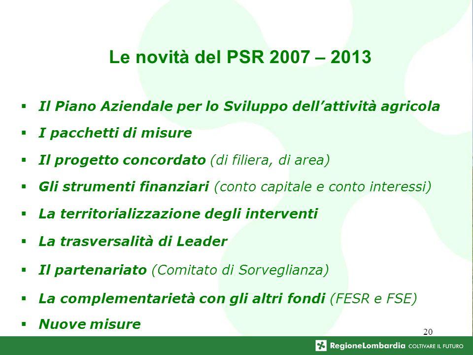 20 Le novità del PSR 2007 – 2013 Il Piano Aziendale per lo Sviluppo dellattività agricola I pacchetti di misure Il progetto concordato (di filiera, di