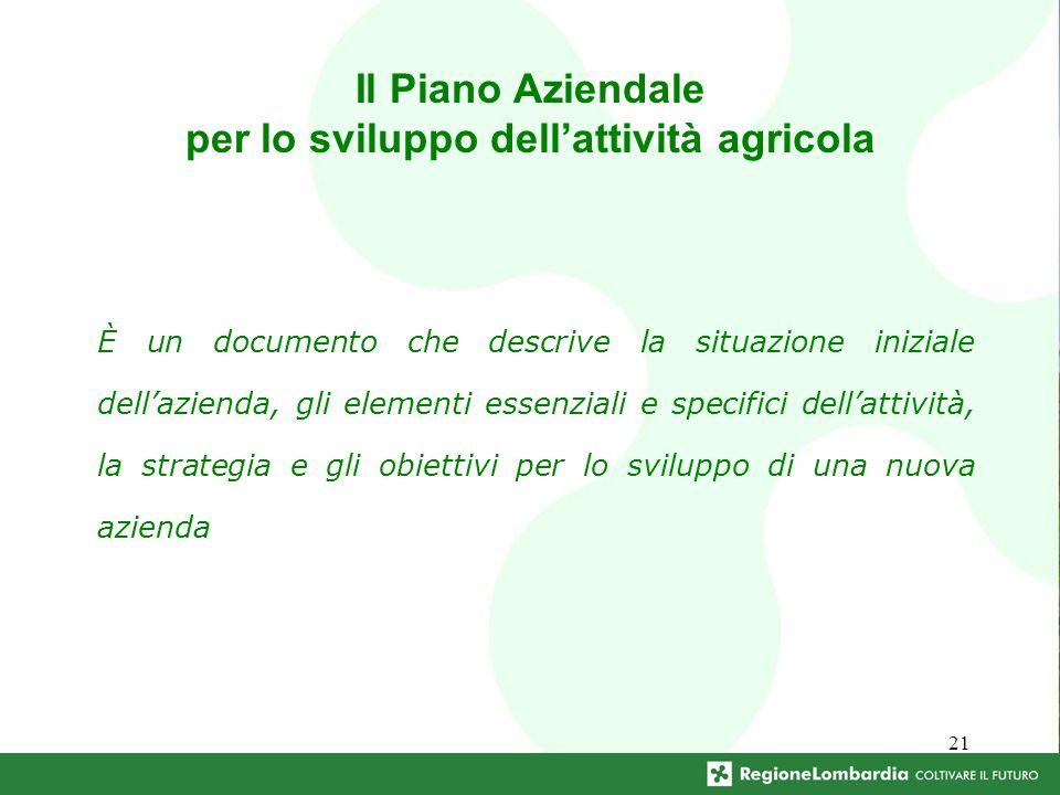 21 Il Piano Aziendale per lo sviluppo dellattività agricola È un documento che descrive la situazione iniziale dellazienda, gli elementi essenziali e specifici dellattività, la strategia e gli obiettivi per lo sviluppo di una nuova azienda