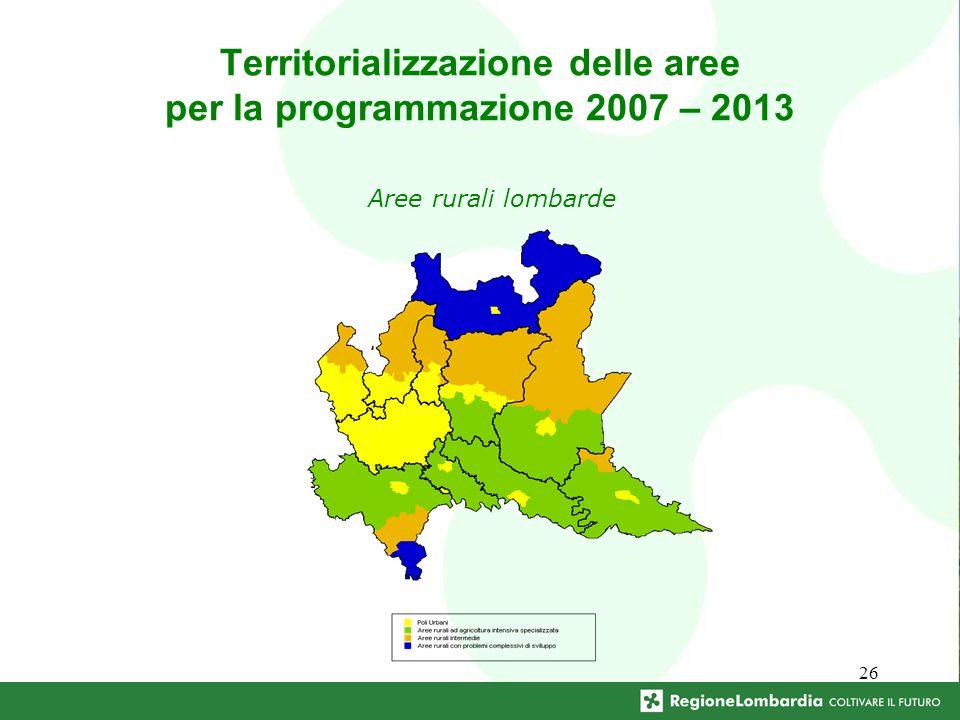 26 Territorializzazione delle aree per la programmazione 2007 – 2013 Aree rurali lombarde