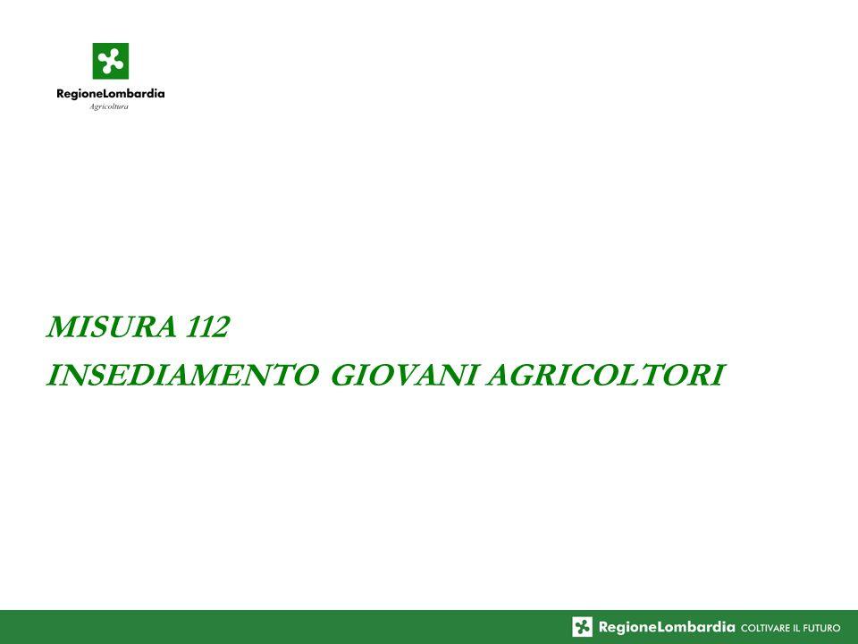 MISURA 112 INSEDIAMENTO GIOVANI AGRICOLTORI