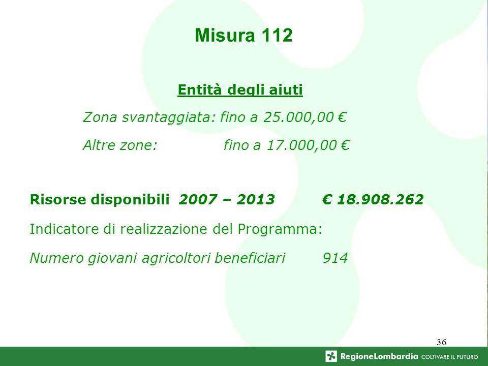 36 Entità degli aiuti Zona svantaggiata: fino a 25.000,00 Altre zone: fino a 17.000,00 Misura 112 Risorse disponibili 2007 – 2013 18.908.262 Indicatore di realizzazione del Programma: Numero giovani agricoltori beneficiari914