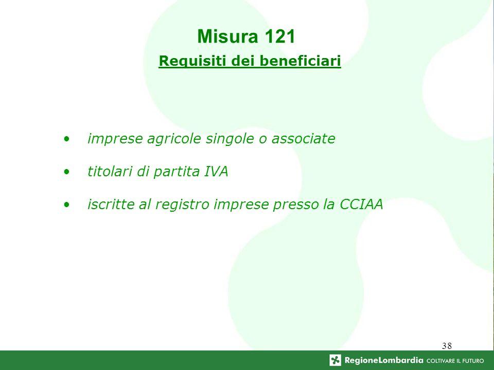 38 imprese agricole singole o associate titolari di partita IVA iscritte al registro imprese presso la CCIAA Misura 121 Requisiti dei beneficiari