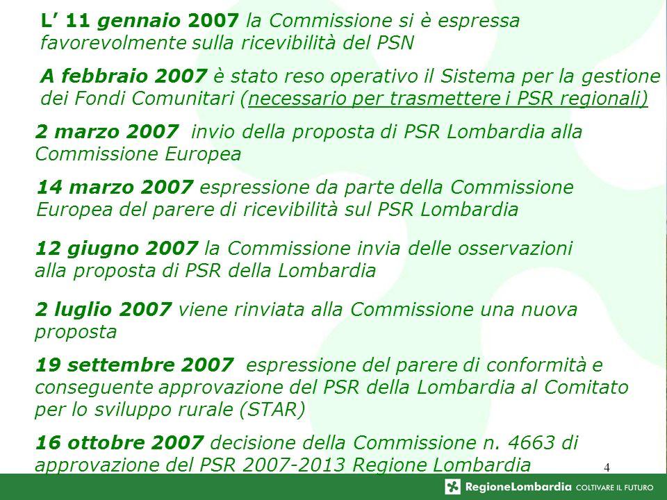 4 L 11 gennaio 2007 la Commissione si è espressa favorevolmente sulla ricevibilità del PSN A febbraio 2007 è stato reso operativo il Sistema per la ge