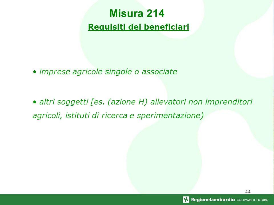 44 imprese agricole singole o associate altri soggetti [es. (azione H) allevatori non imprenditori agricoli, istituti di ricerca e sperimentazione) Mi