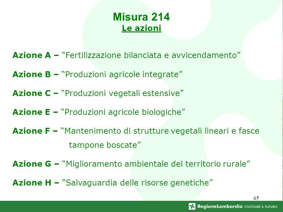 45 Azione A – Fertilizzazione bilanciata e avvicendamento Azione B – Produzioni agricole integrate Azione C – Produzioni vegetali estensive Azione E –