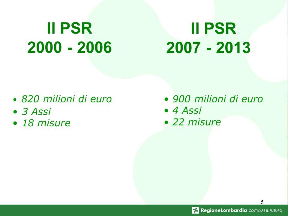5 Il PSR 2000 - 2006 820 milioni di euro 3 Assi 18 misure Il PSR 2007 - 2013 900 milioni di euro 4 Assi 22 misure