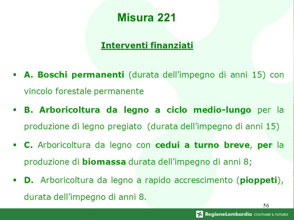 56 Interventi finanziati A. Boschi permanenti (durata dellimpegno di anni 15) con vincolo forestale permanente B. Arboricoltura da legno a ciclo medio