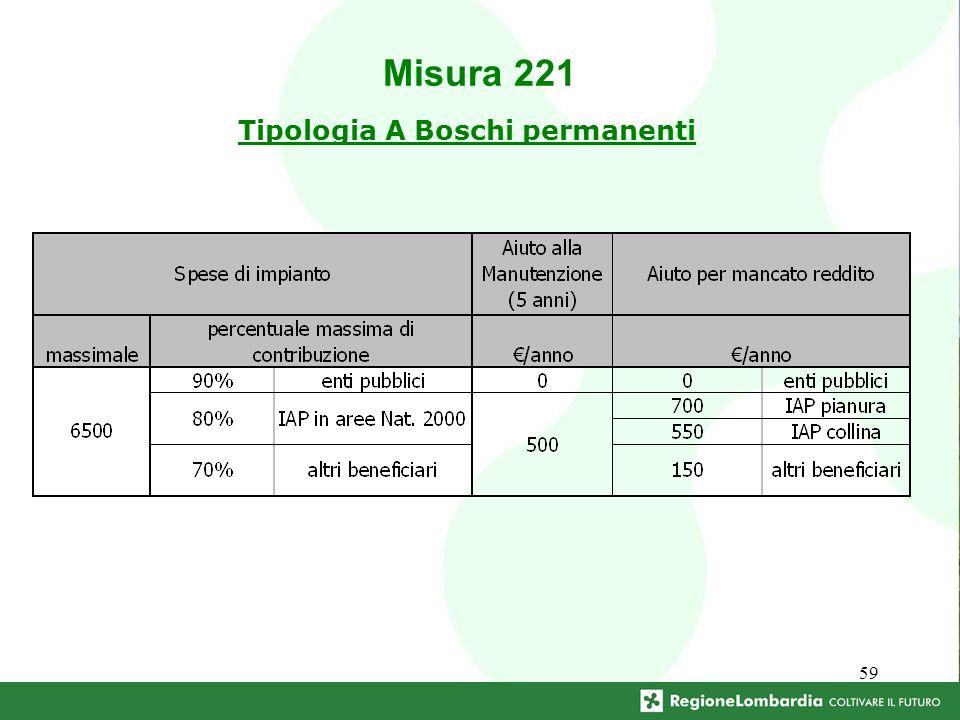 59 Tipologia A Boschi permanenti Misura 221