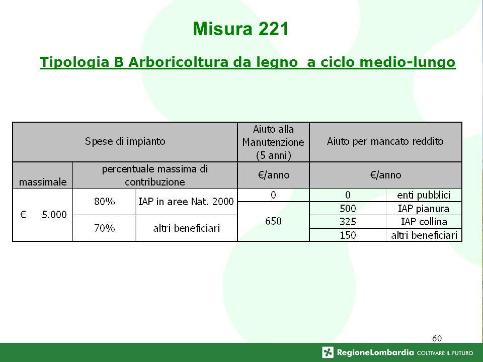 60 Tipologia B Arboricoltura da legno a ciclo medio-lungo Misura 221