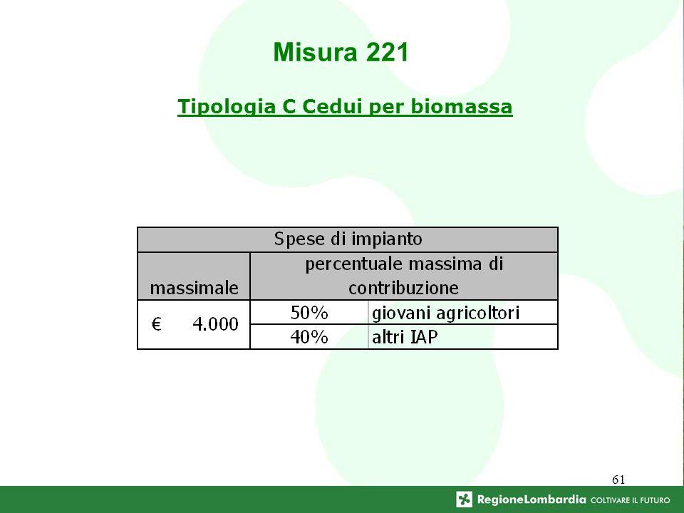 61 Tipologia C Cedui per biomassa Misura 221