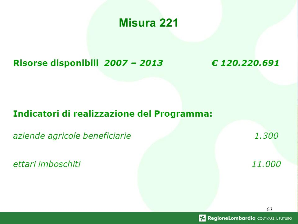 63 Misura 221 Risorse disponibili 2007 – 2013 120.220.691 Indicatori di realizzazione del Programma: aziende agricole beneficiarie 1.300 ettari imboschiti 11.000