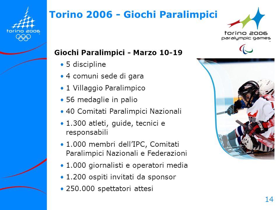 14 Torino 2006 - Giochi Paralimpici Giochi Paralimpici - Marzo 10-19 5 discipline 4 comuni sede di gara 1 Villaggio Paralimpico 56 medaglie in palio 4